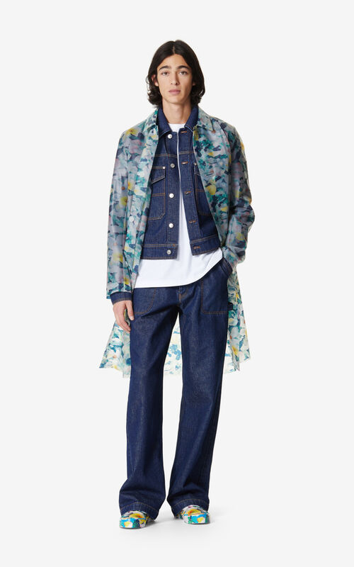 NAVY BLUE 'Gardenias' raincoat for men KENZO