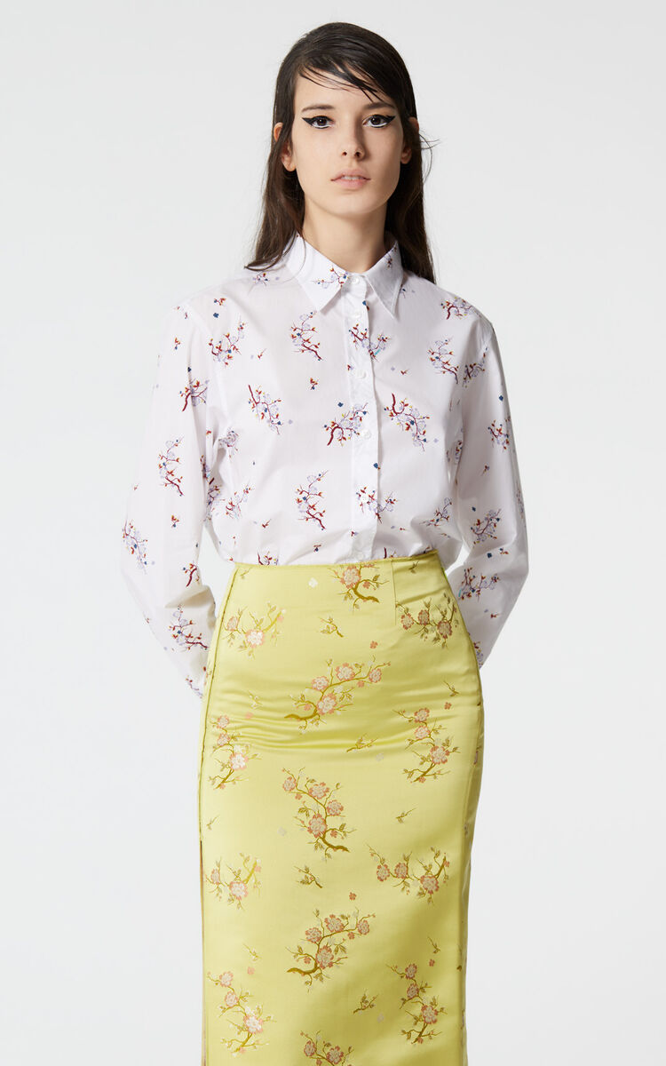 WHITE 'Cheongsam Flower' shirt for women KENZO