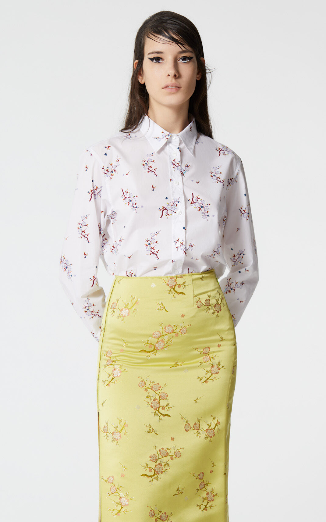 ABSINTHE 'Cheongsam Flower' side slit midi skirt for women KENZO