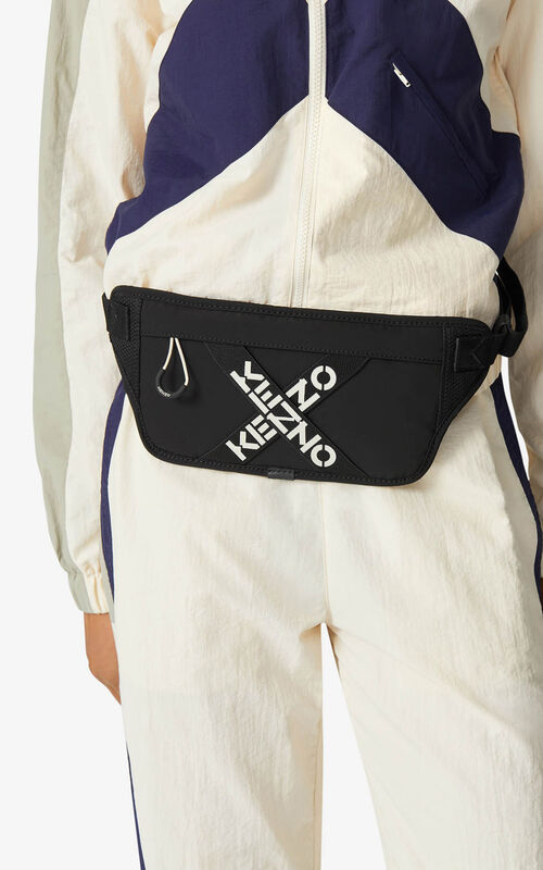 BLACK KENZO Sport belt bag for men