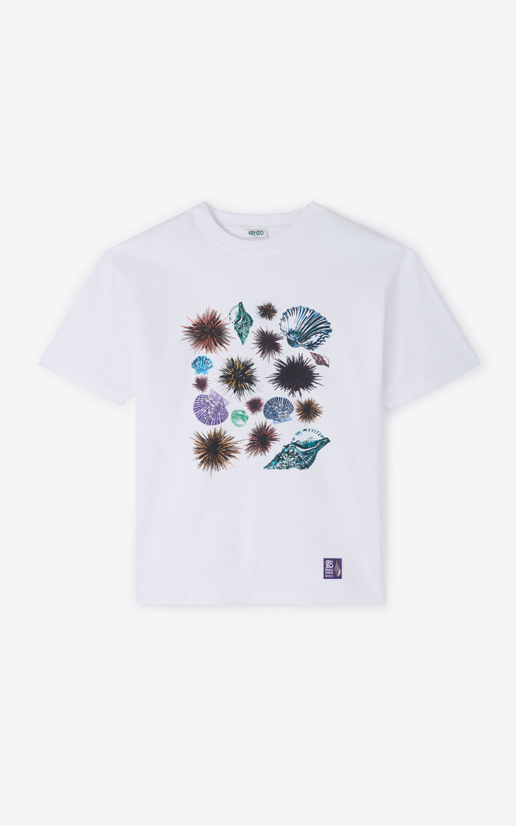 WHITE 'Seashells & Urchins' 'High Summer Capsule Collection' T-shirt for men KENZO