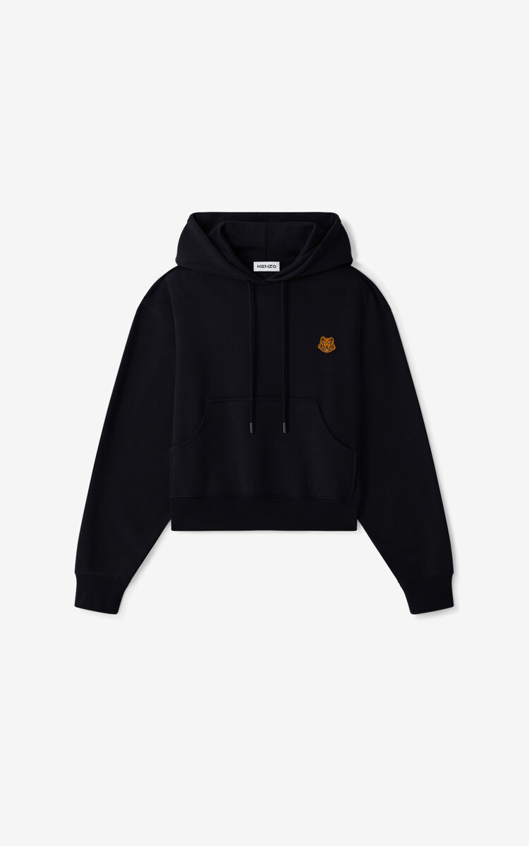 BLACK Tiger Crest boxy hoodie for women KENZO