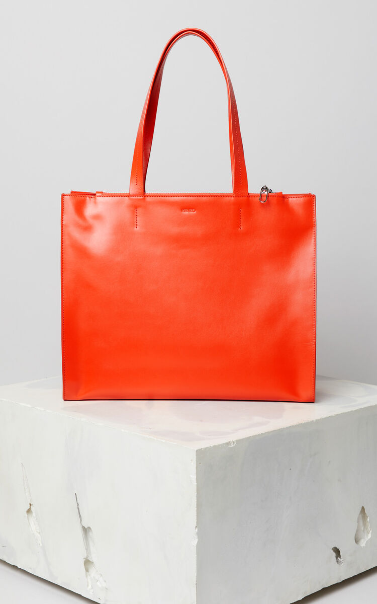 MEDIUM RED Leather Kenzo logo tote bag for men