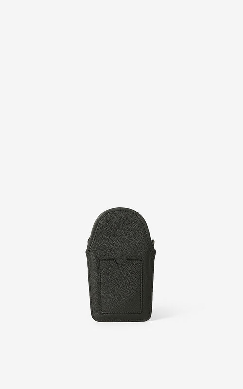 BLACK KENZO Onda leather crossbody phone holder. for unisex