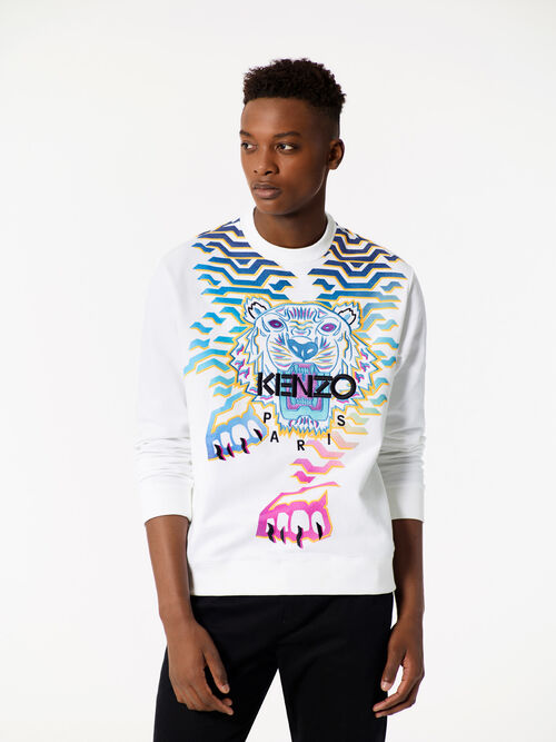 WHITE 'Rainbow' Tiger Sweatshirt for men KENZO