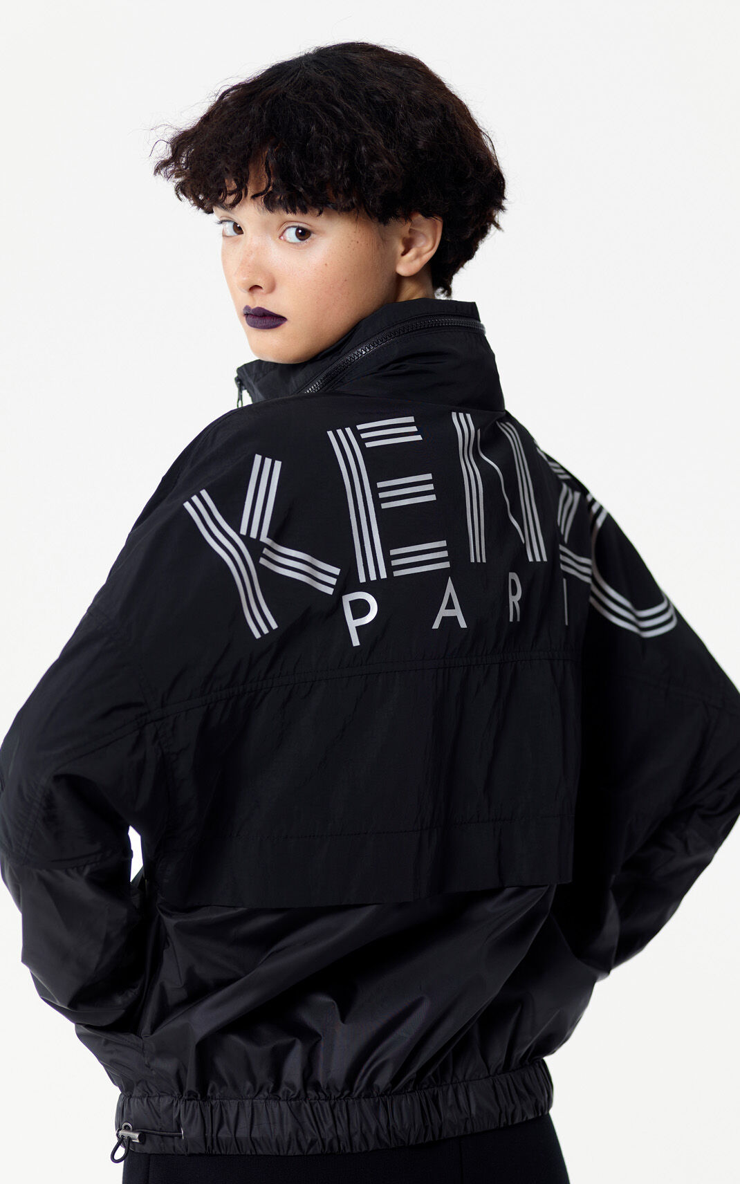 BLACK KENZO Logo windcheater jacket for women
