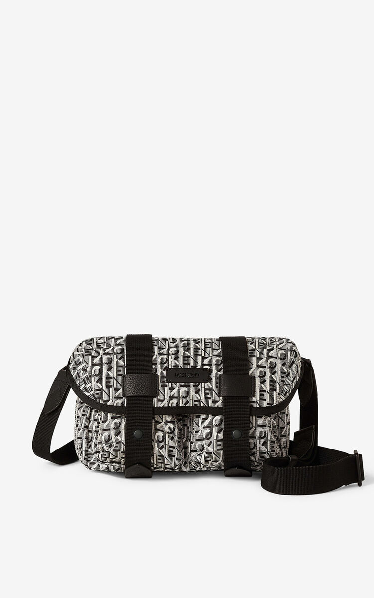 MISTY GREY Courier jacquard belt bag for men KENZO