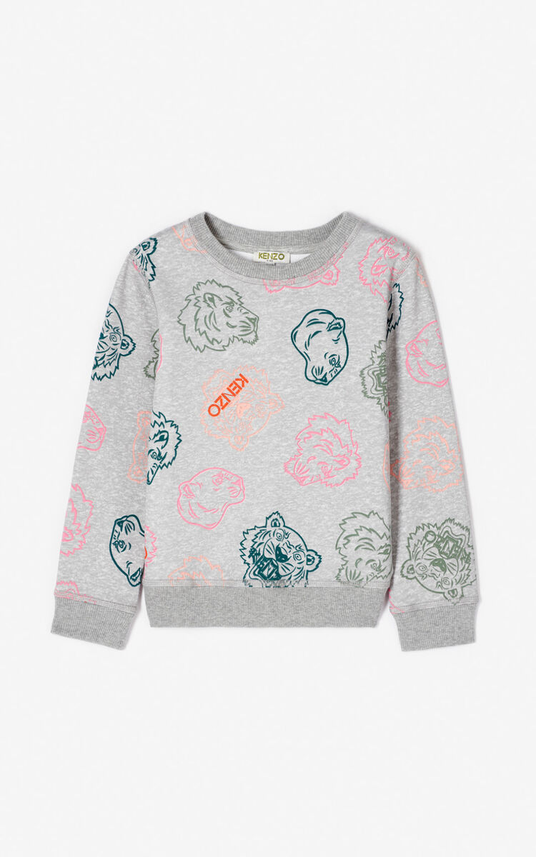 MISTY GREY Multi-icon sweatshirt for women KENZO