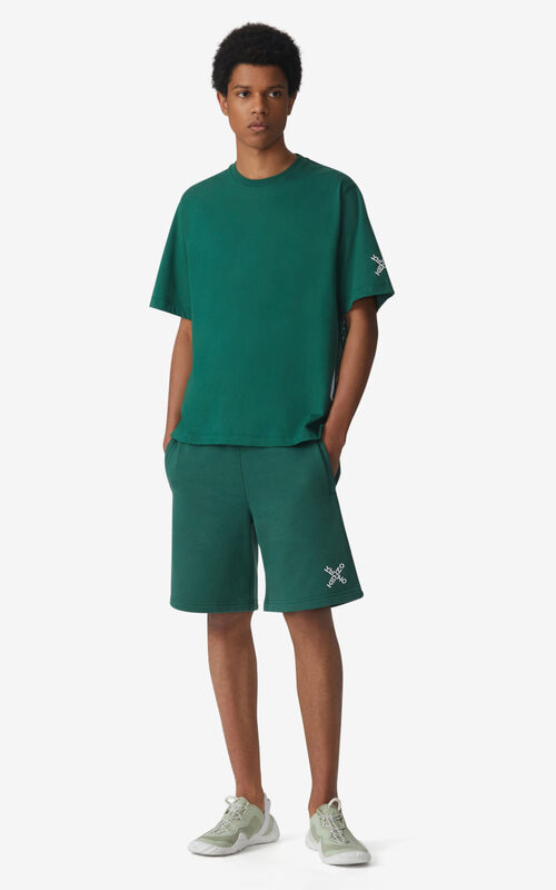 GREEN KENZO Sport 'Little X' shorts for men