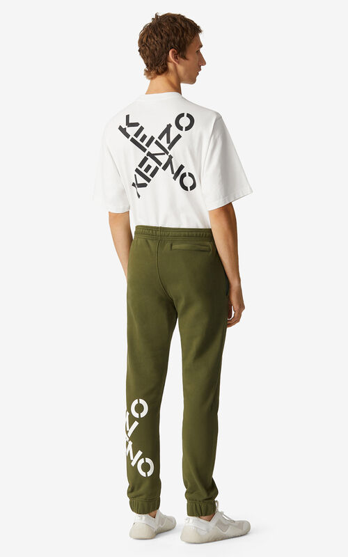 DARK KHAKI KENZO Sport 'Big X' joggers for men