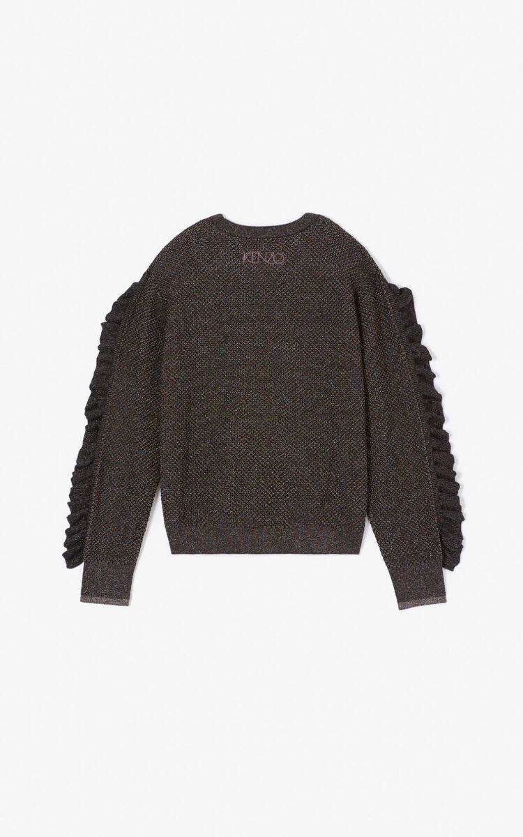 BLACK Frilled glitter jumper for women KENZO