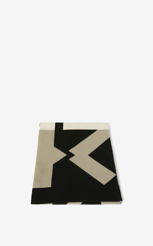 DOVE GREY KENZO Sport wool scarf for unisex