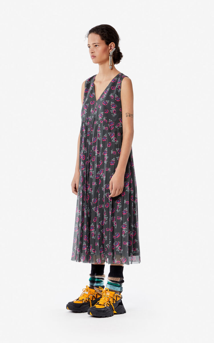 DARK KHAKI 'Passion Flower' midi dress for women KENZO