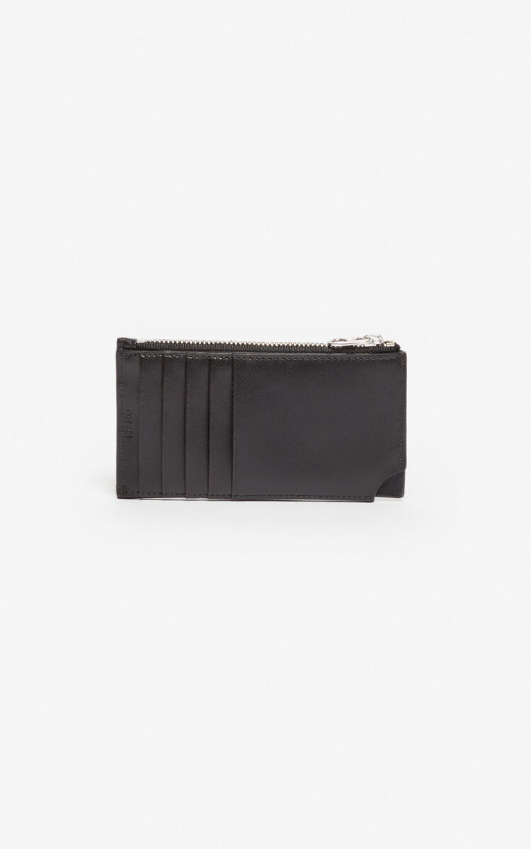 BLACK 'Jumping Tiger' Zipped leather card holder for men KENZO