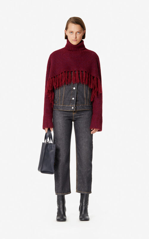 BORDEAUX Short fringed jumper for women KENZO