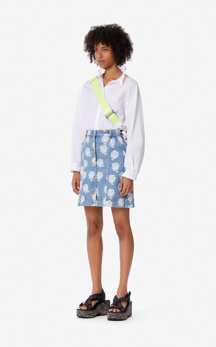 WHITE 'Roses' denim skirt for women KENZO