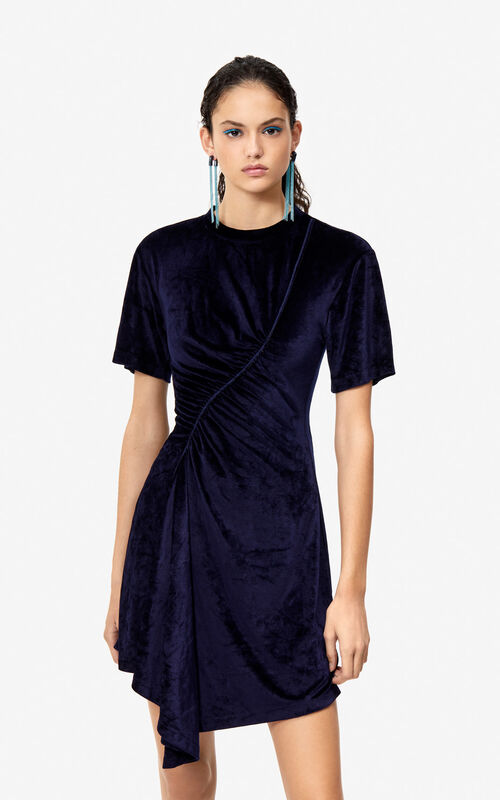MIDNIGHT BLUE Frilled velvet dress for women KENZO