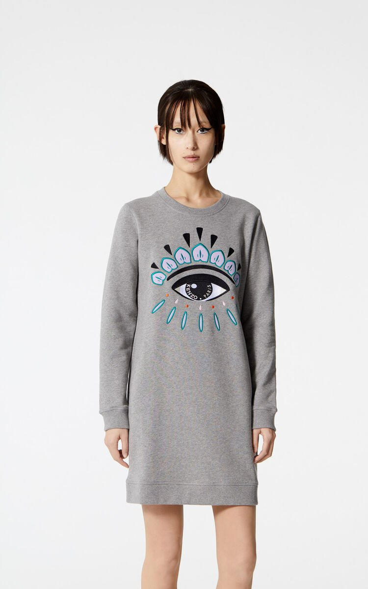 Dove Grey Eye Sweatshirt Dress For Women Kenzo