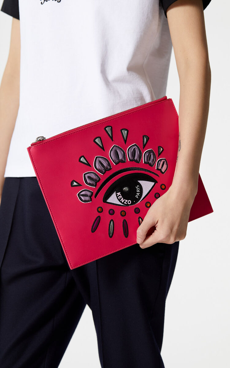 DEEP FUSCHIA A4 Eye clutch in leather for unisex KENZO