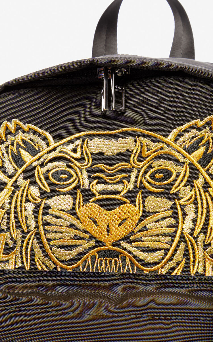 BLACK Large Canvas Tiger backpack 'Exclusive Capsule' for unisex KENZO