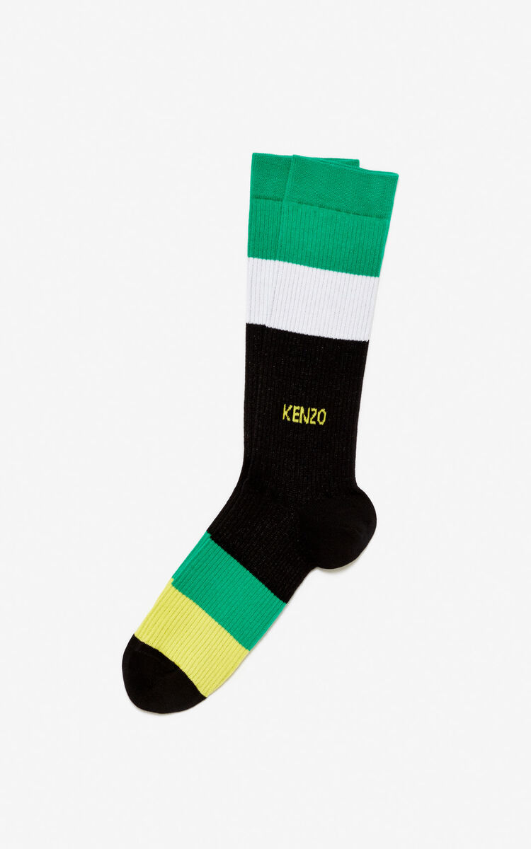 BLACK Corlorblock stripes socks for unisex KENZO
