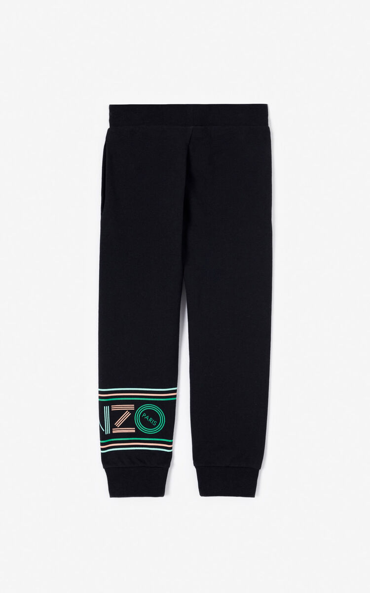 BLACK KENZO logo jogging trousers for men