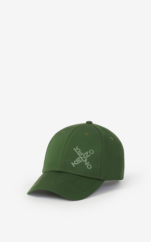 DARK KHAKI KENZO Sport 'Little X' baseball cap for unisex