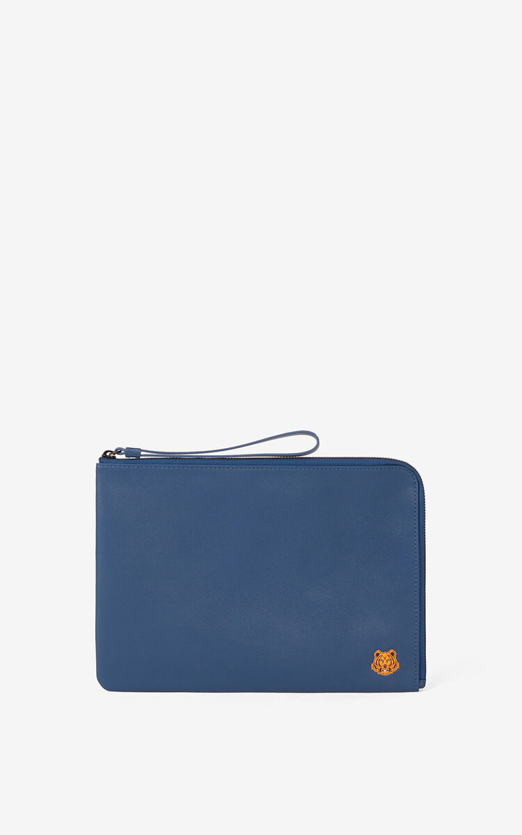 MIDNIGHT BLUE Tiger Crest large leather clutch for women KENZO