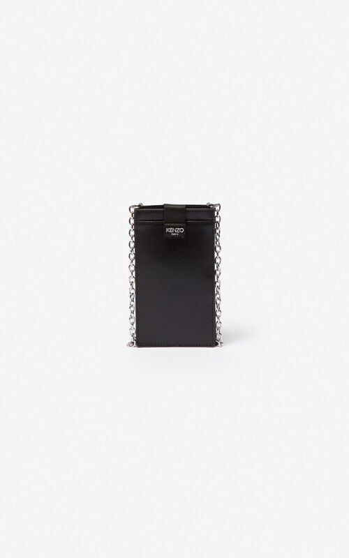 BLACK Eye leather phone case with chain for unisex KENZO