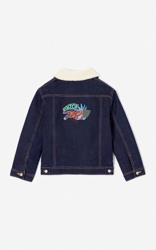 DUCK BLUE 'Fantastic Jungle' denim jacket for women KENZO