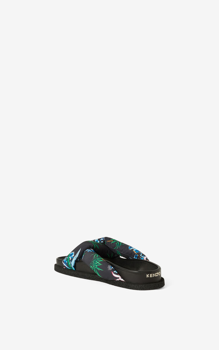 BLACK 'Sea Lily' Komfy mules for unisex KENZO