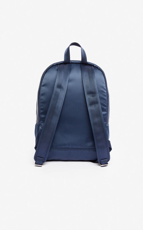 MIDNIGHT BLUE Large satin Tiger backpack 'Holiday Capsule' for unisex KENZO