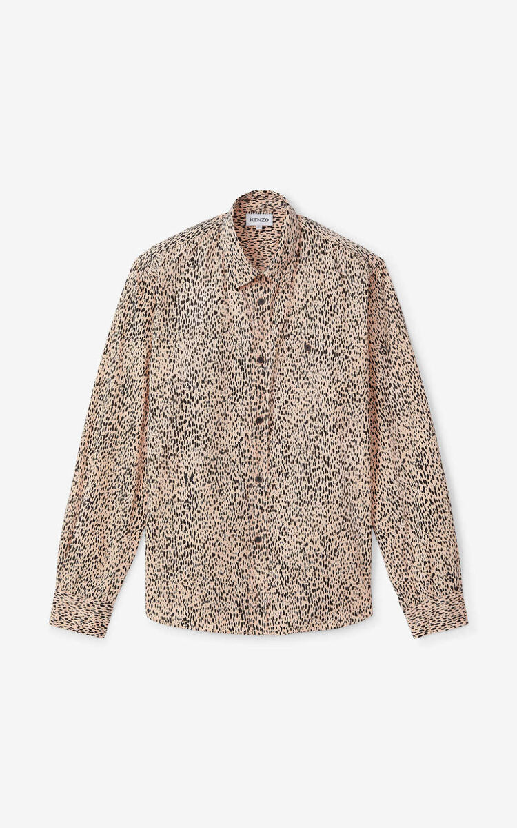 FADED PINK Leopard' casual shirt for unisex KENZO