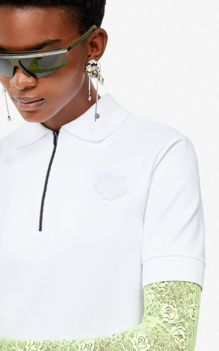 WHITE Boxy Tiger polo for women KENZO