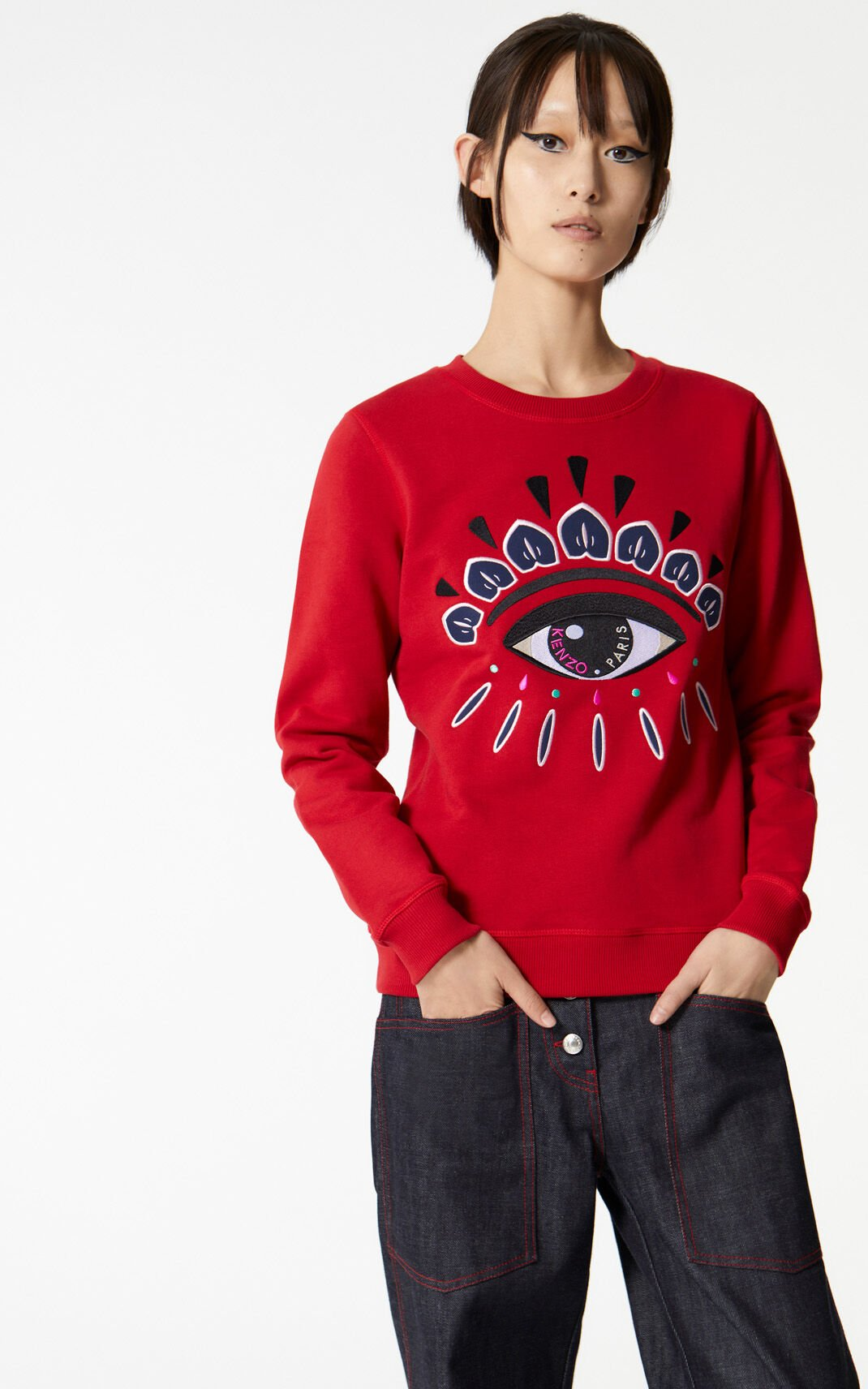 MEDIUM RED Embroidered Eye sweatshirt for women KENZO