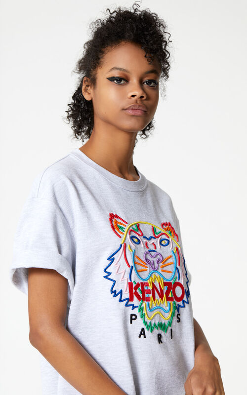 PALE GREY 'High Summer Capsule Collection' Tiger sweatshirt dress for women KENZO