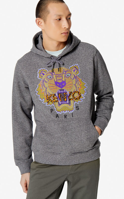 ANTHRACITE 'Hiking Tiger' hoodie for men KENZO