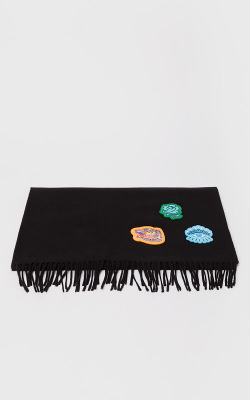 BLACK Multi-icon scarf 'Go Tigers Capsule' for unisex KENZO