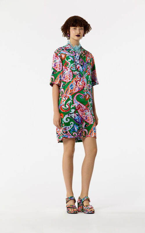 GRASS GREEN Paisley pattern silk dress shirt for women KENZO
