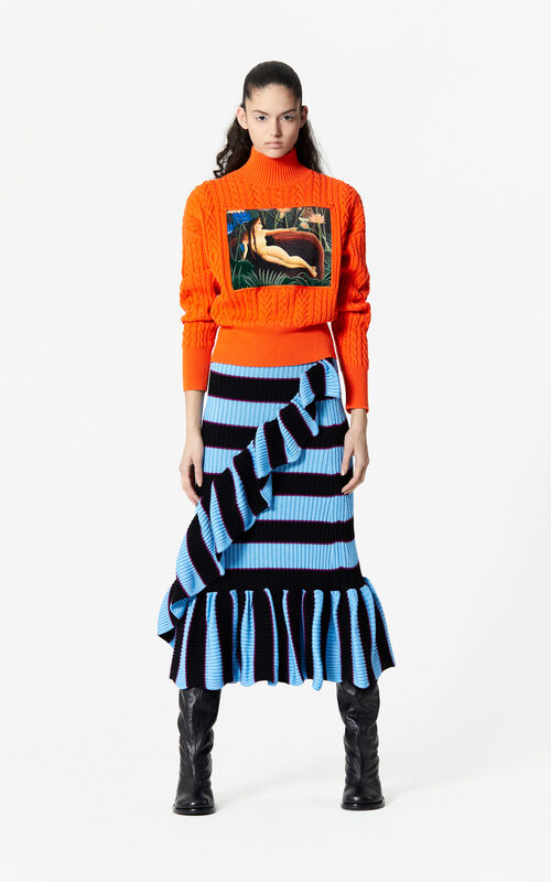 MULTICOLOR Striped knit skirt for women KENZO
