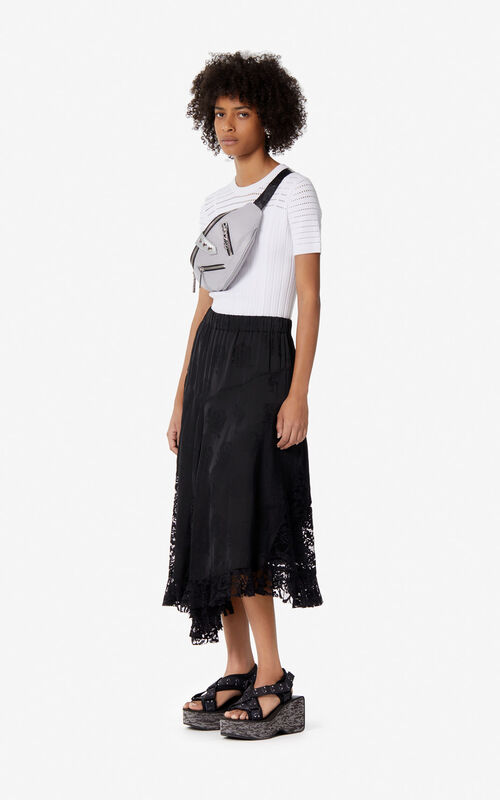 BLACK Lace midi skirt for women KENZO
