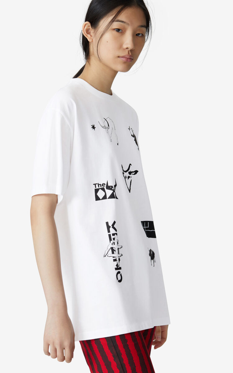 WHITE 'Chinese New Year Capsule' 'Sign & Symbol' oversize T-shirt for women KENZO