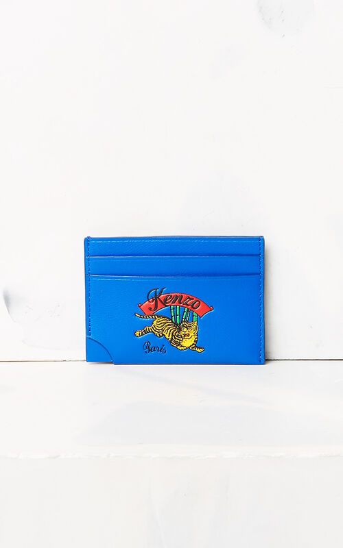 FRENCH BLUE 'Jumping Tiger' leather card holder for men KENZO