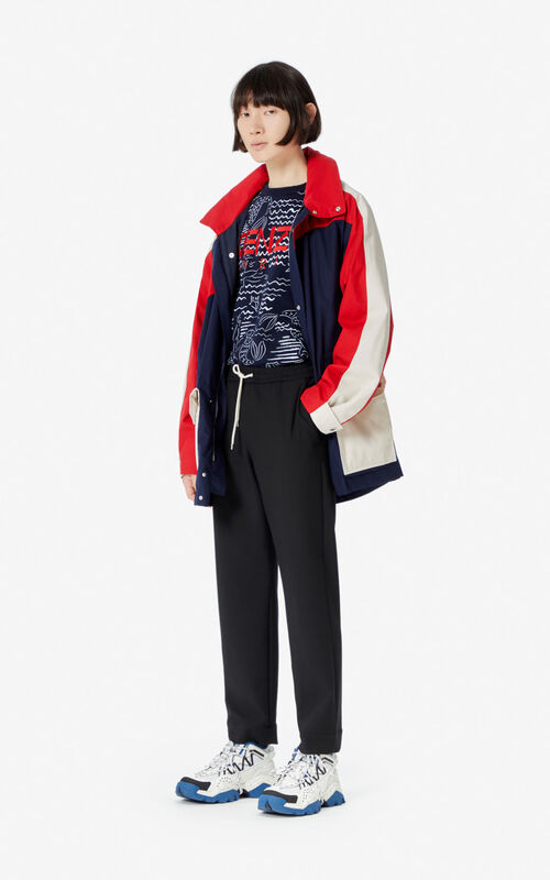 MIDNIGHT BLUE Colorblock parka for women KENZO