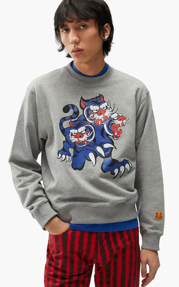 DOVE GREY KENZO x KANSAIYAMAMOTO 'Trois Tigres' sweatshirt for men