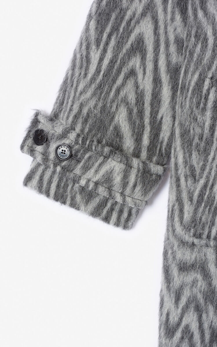 MISTY GREY 'Moire Tiger' coat for women KENZO