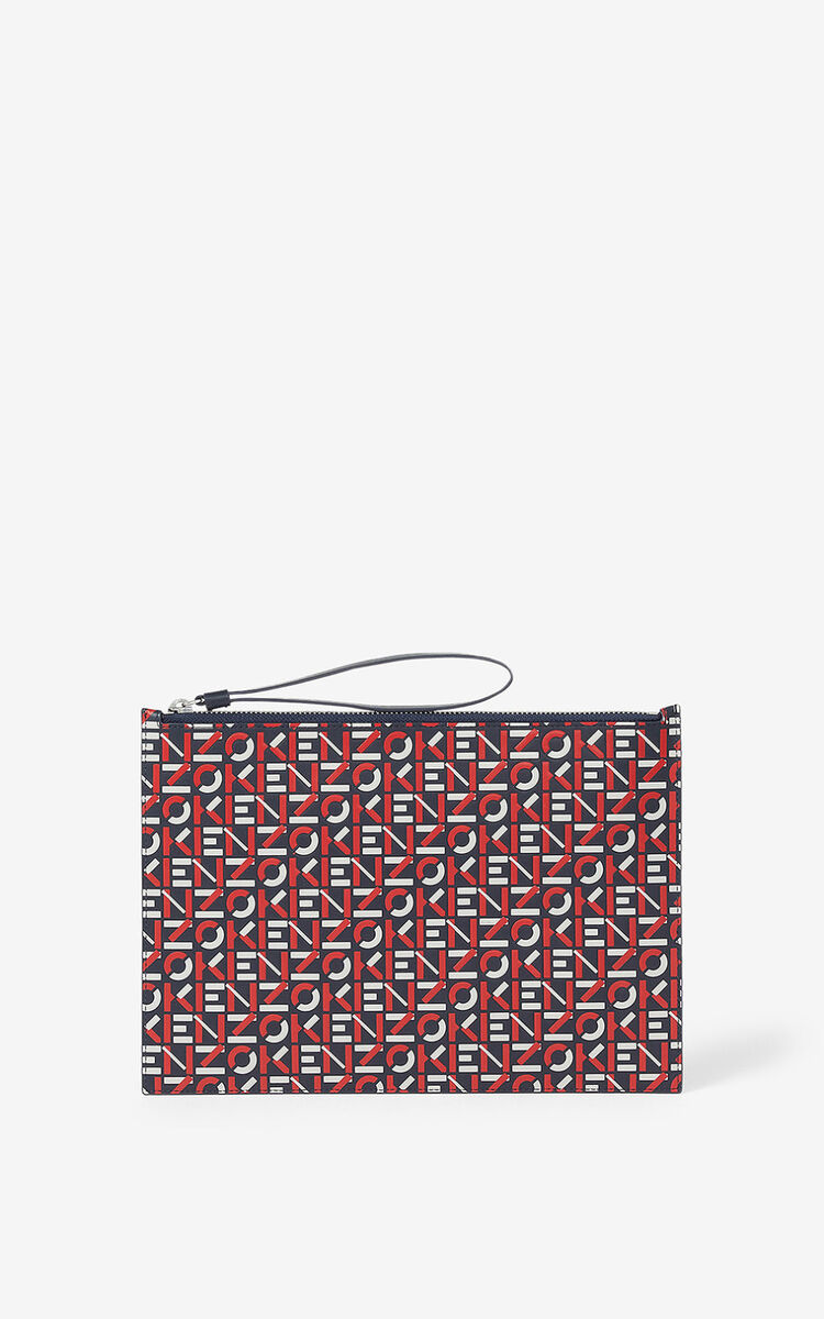 MEDIUM RED Large monogram leather clutch  for men KENZO