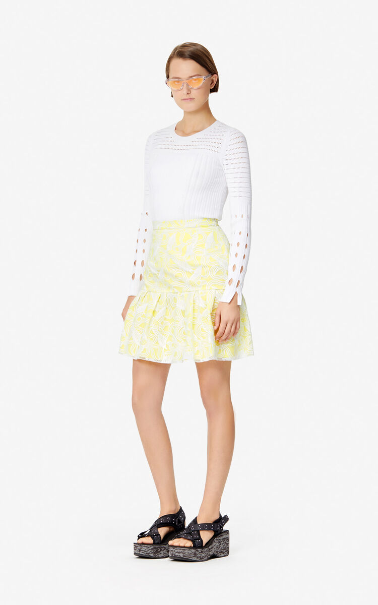 WHITE 'Flying Phoenix' skater skirt 'High Summer Capsule collection' for women KENZO