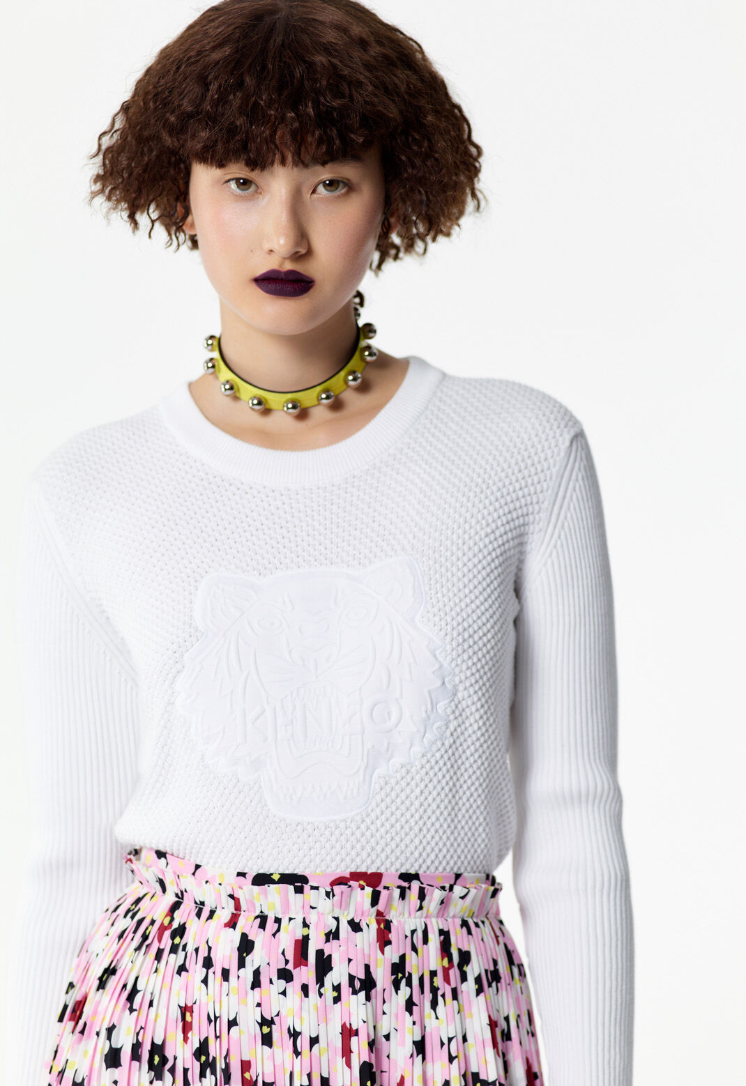 WHITE Textured Tiger jumper for women KENZO