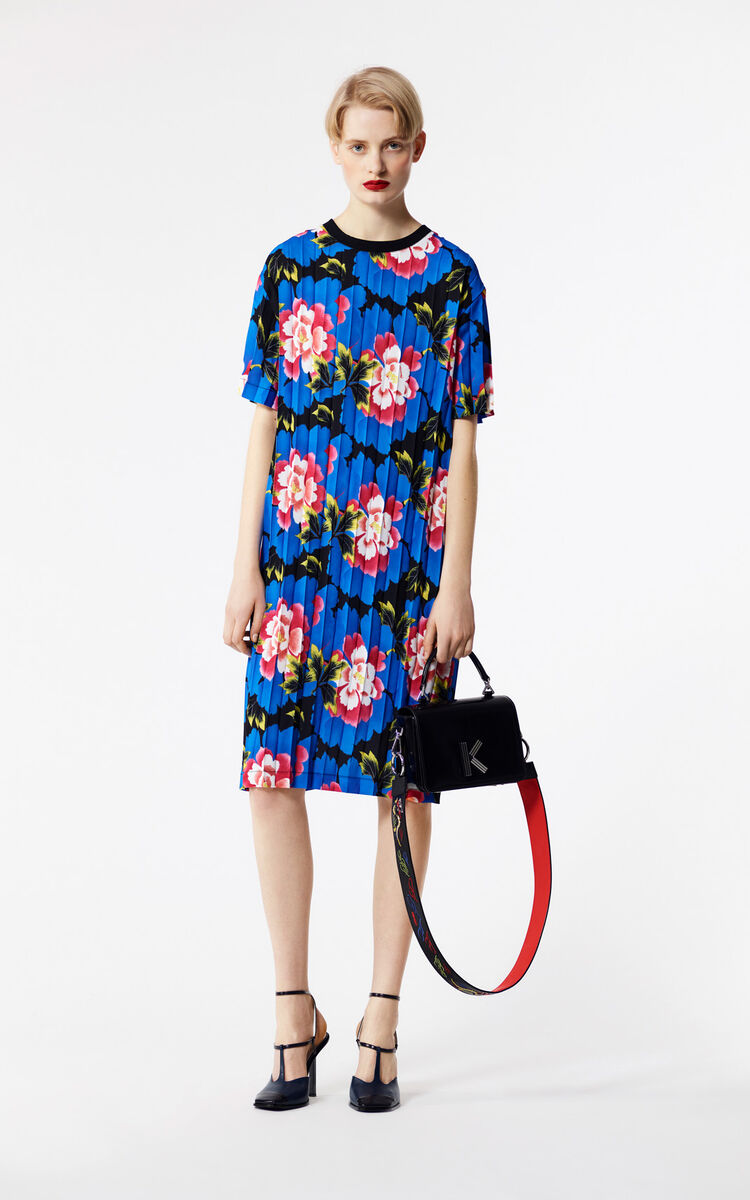 BLACK 'Indonesian Flower' pleated T-shirt dress for women KENZO